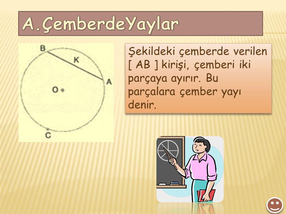 A.ÇemberdeYaylar Şekildeki çemberde verilen [ AB ] kirişi, çemberi iki parçaya ayırır.